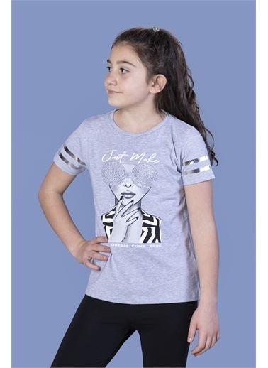 Toontoy Kids Toontoy Kız Çocuk Baskılı Taş İşlemeli Arkası Tül Detaylı Tişört Renkli